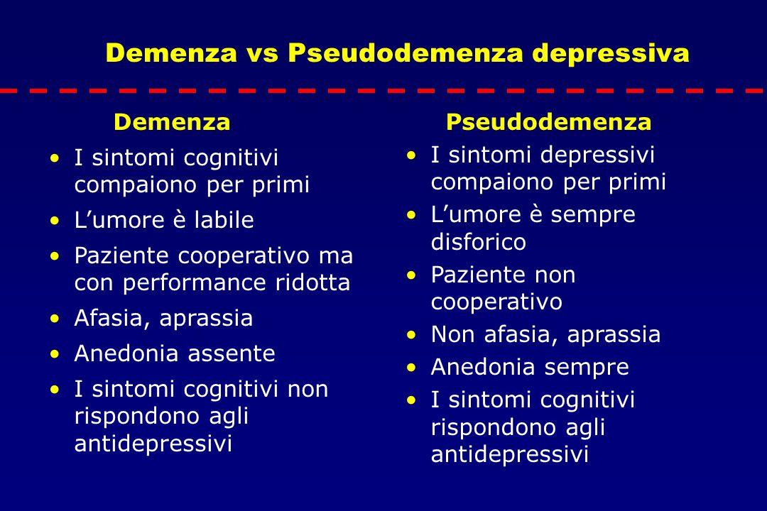 Demenza vs Pseudodemenza depressiva