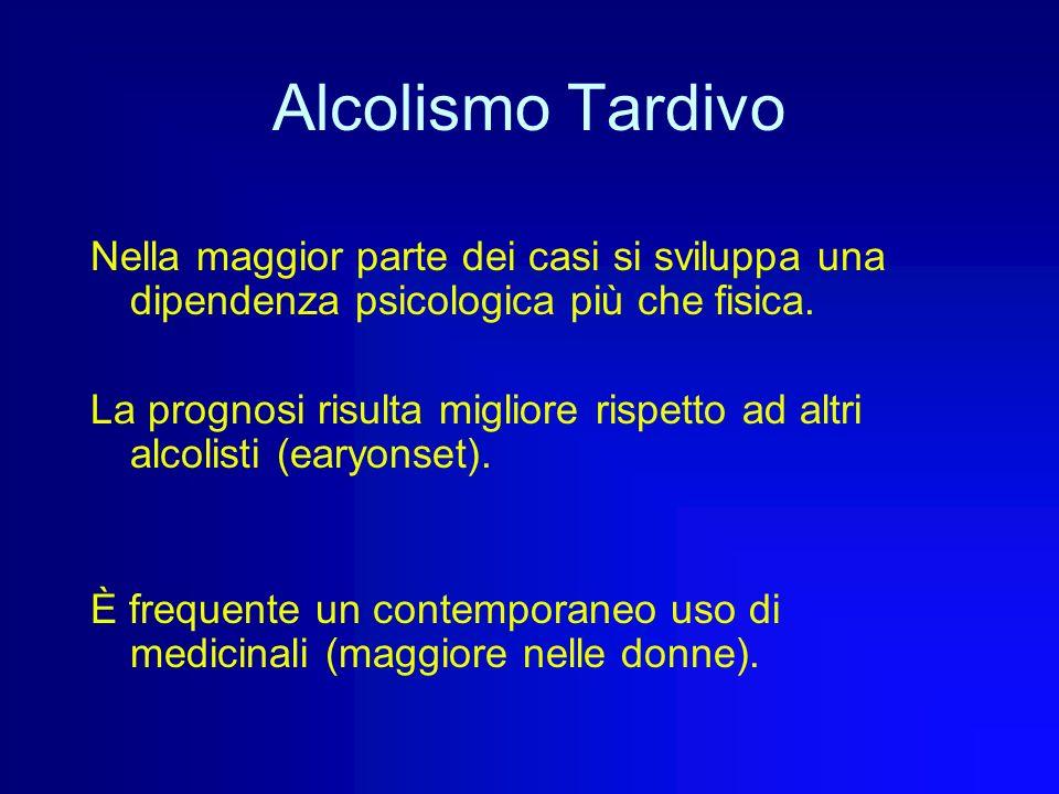 Alcolismo Tardivo Nella maggior parte dei casi si sviluppa una dipendenza psicologica più che fisica.