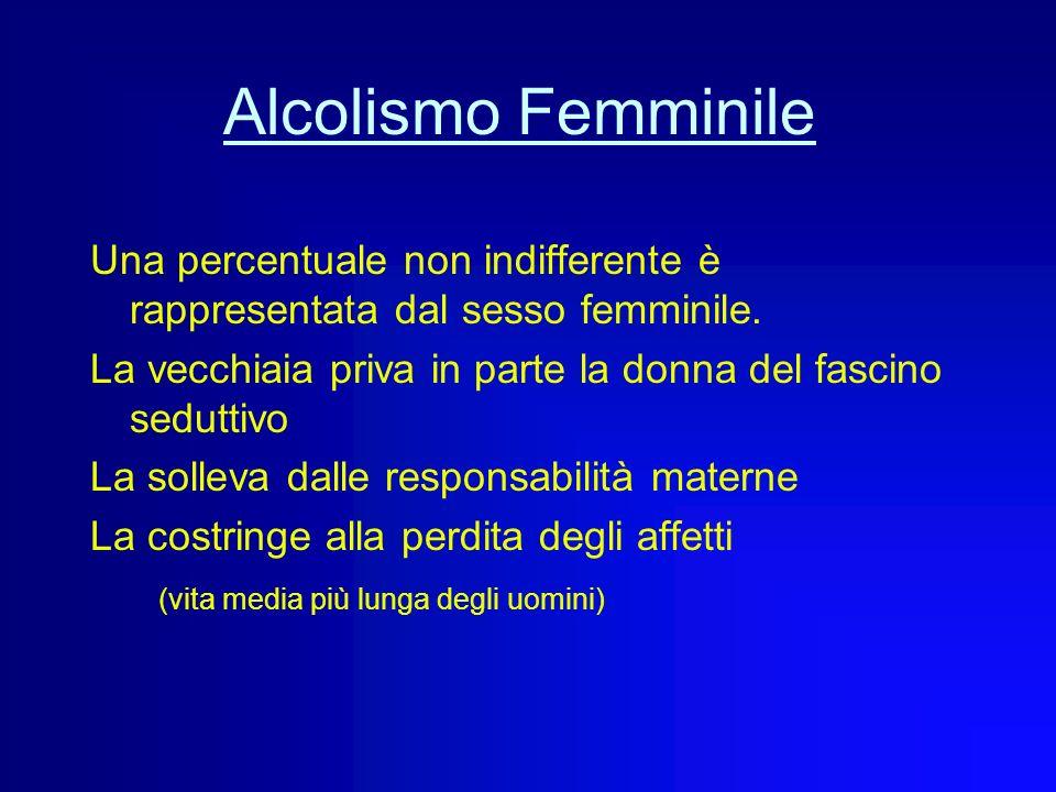 Alcolismo Femminile Una percentuale non indifferente è rappresentata dal sesso femminile. La vecchiaia priva in parte la donna del fascino seduttivo.