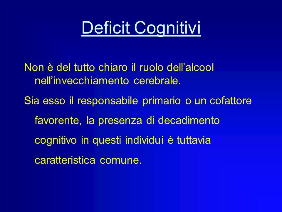 Deficit Cognitivi Non è del tutto chiaro il ruolo dell'alcool nell'invecchiamento cerebrale.