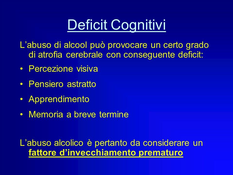 Deficit Cognitivi L'abuso di alcool può provocare un certo grado di atrofia cerebrale con conseguente deficit: