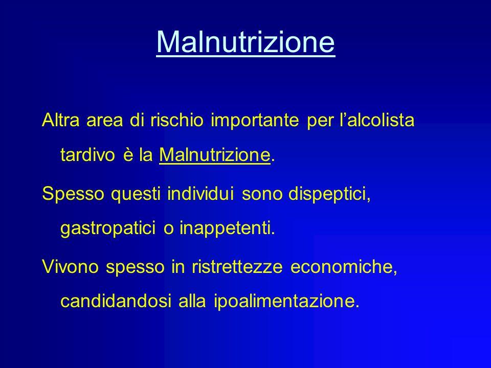 Malnutrizione Altra area di rischio importante per l'alcolista tardivo è la Malnutrizione.