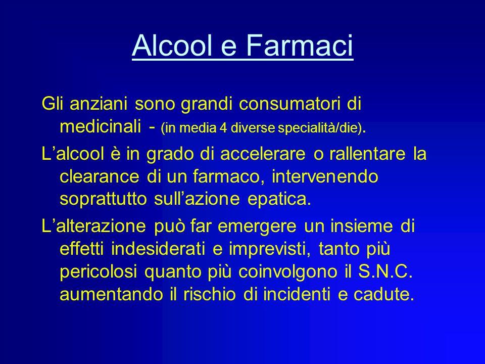 Alcool e Farmaci Gli anziani sono grandi consumatori di medicinali - (in media 4 diverse specialità/die).