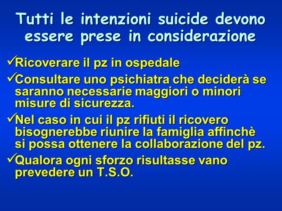Tutti le intenzioni suicide devono essere prese in considerazione