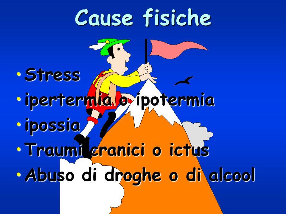 Cause fisiche Stress ipertermia o ipotermia ipossia
