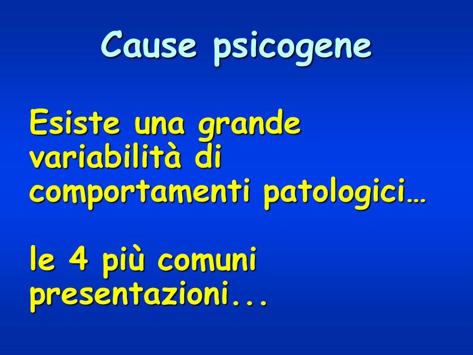 Cause psicogene Esiste una grande variabilità di comportamenti patologici… le 4 più comuni presentazioni...