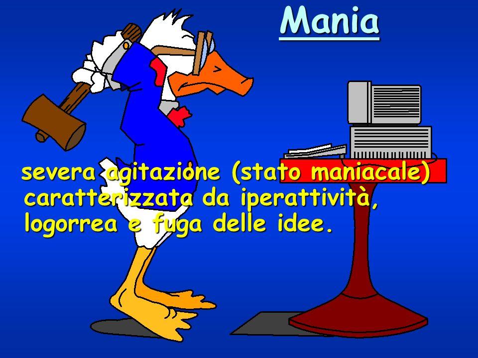 Mania severa agitazione (stato maniacale) caratterizzata da iperattività, logorrea e fuga delle idee.