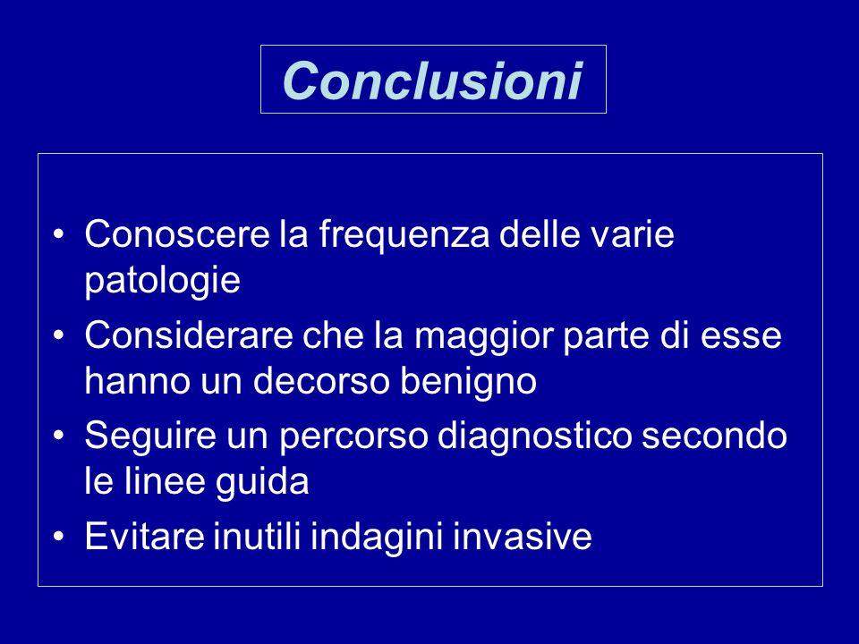 Conclusioni Conoscere la frequenza delle varie patologie
