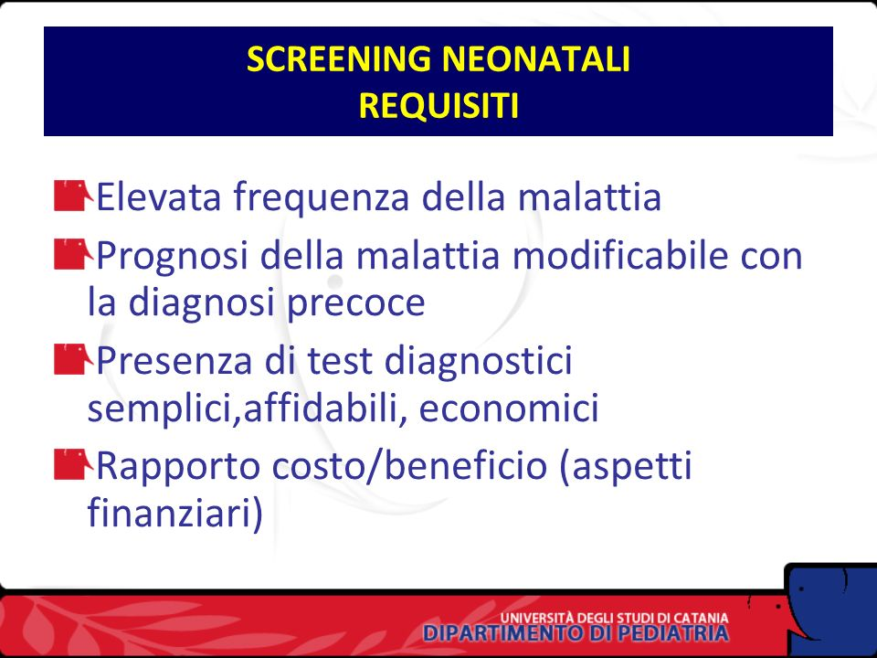 SCREENING NEONATALI REQUISITI