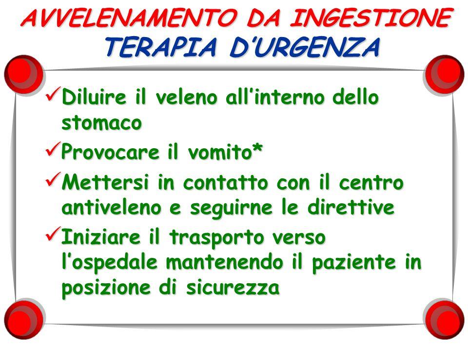 AVVELENAMENTO DA INGESTIONE TERAPIA D'URGENZA