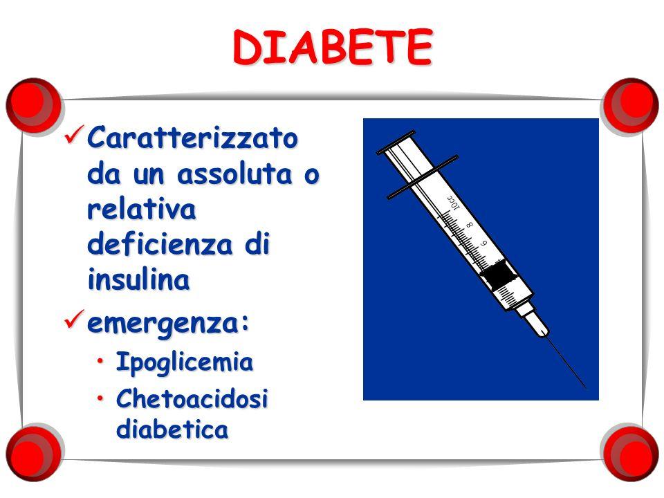 DIABETE Caratterizzato da un assoluta o relativa deficienza di insulina.