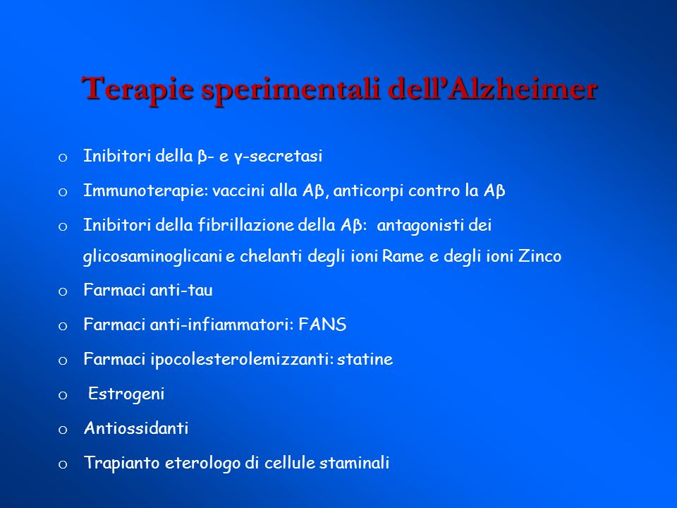 Terapie sperimentali dell'Alzheimer