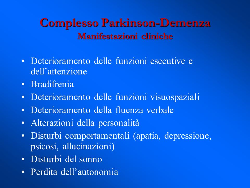 Complesso Parkinson-Demenza Manifestazioni cliniche