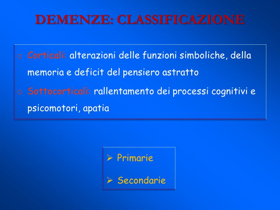 DEMENZE: CLASSIFICAZIONE