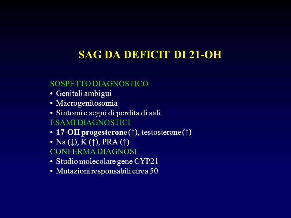 SAG DA DEFICIT DI 21-OH SOSPETTO DIAGNOSTICO Genitali ambigui