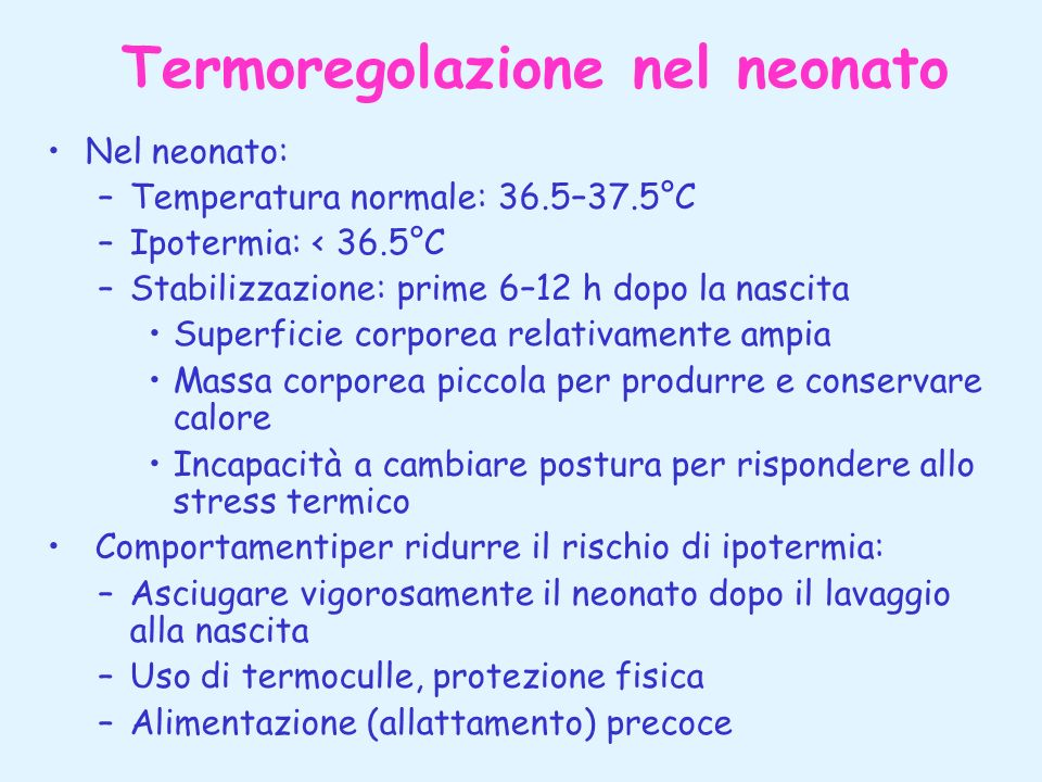 Termoregolazione nel neonato