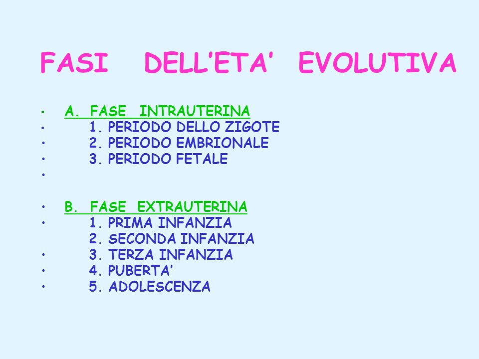 FASI DELL'ETA' EVOLUTIVA