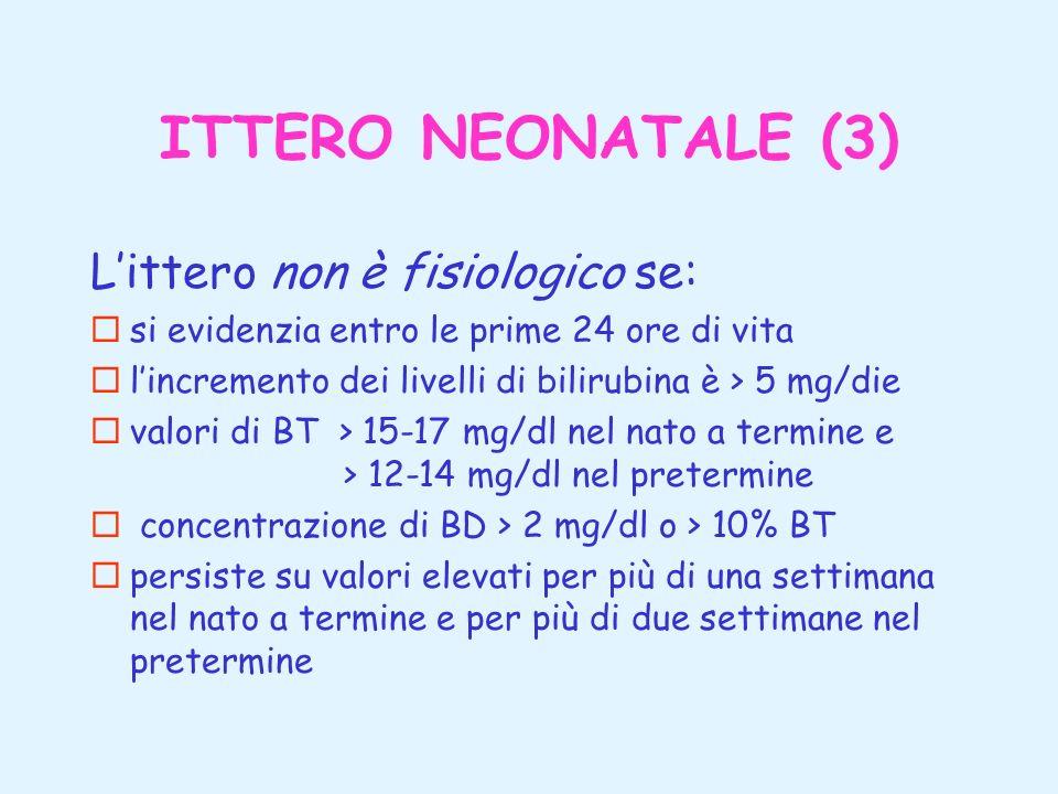 ITTERO NEONATALE (3) L'ittero non è fisiologico se: