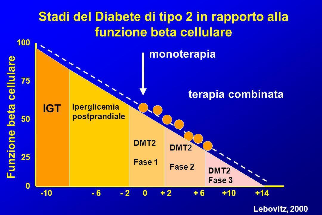 Stadi del Diabete di tipo 2 in rapporto alla funzione beta cellulare