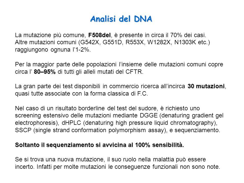 Analisi del DNA La mutazione più comune, F508del, è presente in circa il 70% dei casi.