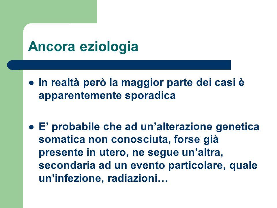 Ancora eziologia In realtà però la maggior parte dei casi è apparentemente sporadica.