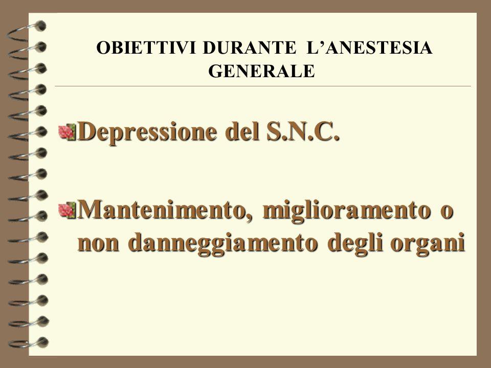 OBIETTIVI DURANTE L'ANESTESIA GENERALE