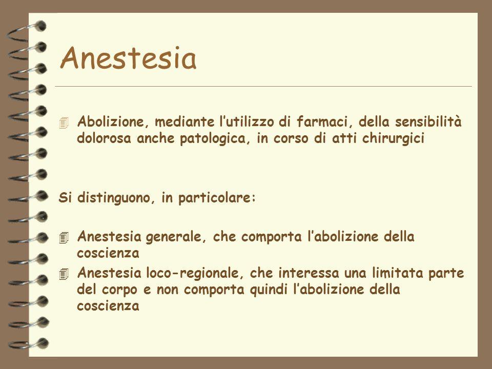 Anestesia Abolizione, mediante l'utilizzo di farmaci, della sensibilità dolorosa anche patologica, in corso di atti chirurgici.