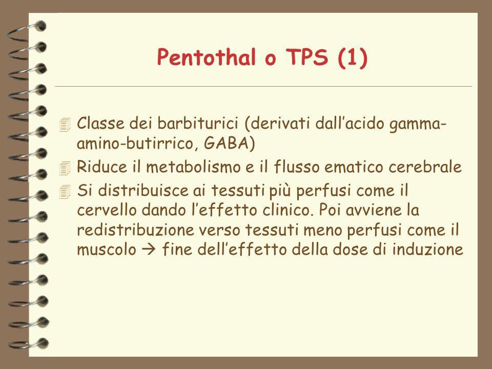 Pentothal o TPS (1) Classe dei barbiturici (derivati dall'acido gamma-amino-butirrico, GABA) Riduce il metabolismo e il flusso ematico cerebrale.