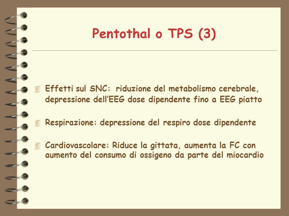 Pentothal o TPS (3) Effetti sul SNC: riduzione del metabolismo cerebrale, depressione dell'EEG dose dipendente fino a EEG piatto.