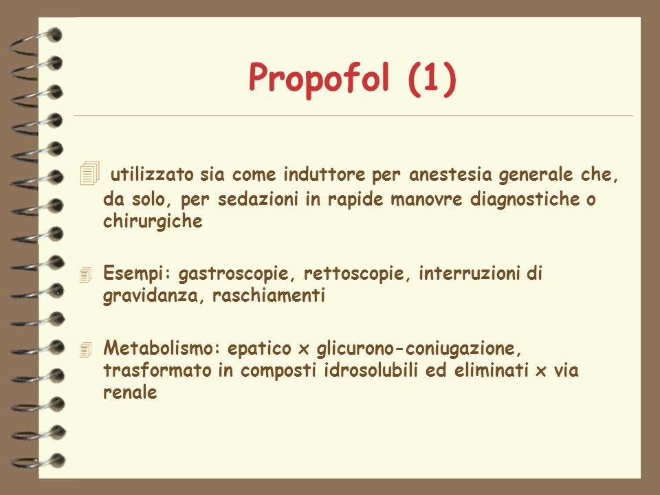 Propofol (1) utilizzato sia come induttore per anestesia generale che, da solo, per sedazioni in rapide manovre diagnostiche o chirurgiche.
