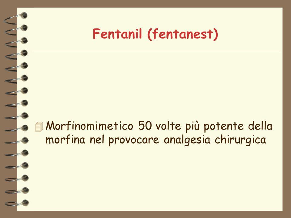 Fentanil (fentanest) Morfinomimetico 50 volte più potente della morfina nel provocare analgesia chirurgica.