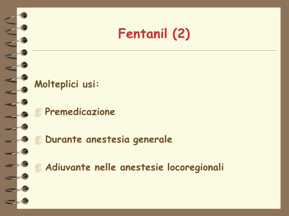 Fentanil (2) Molteplici usi: Premedicazione Durante anestesia generale