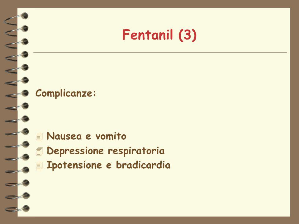 Fentanil (3) Complicanze: Nausea e vomito Depressione respiratoria