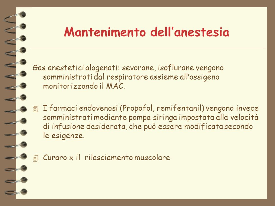 Mantenimento dell'anestesia