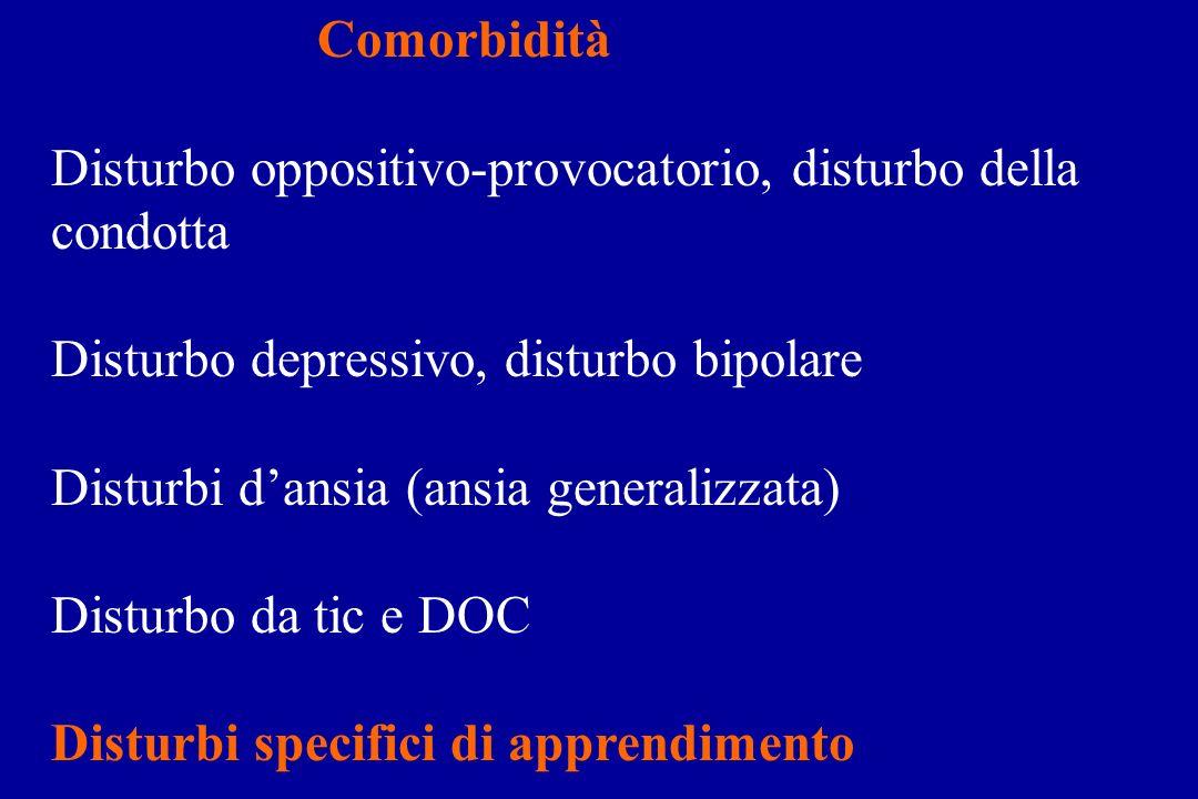 Comorbidità Disturbo oppositivo-provocatorio, disturbo della condotta. Disturbo depressivo, disturbo bipolare.