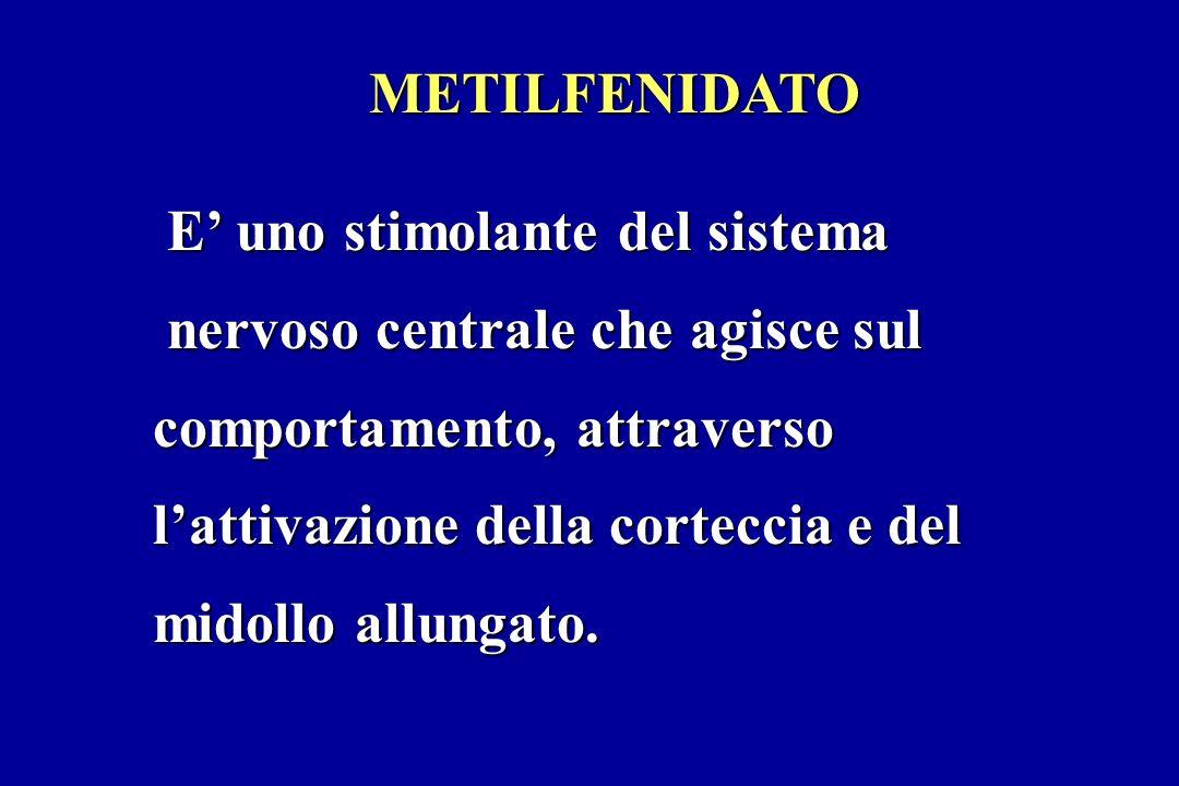 METILFENIDATO E' uno stimolante del sistema. nervoso centrale che agisce sul. comportamento, attraverso.