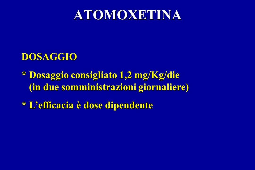 ATOMOXETINA DOSAGGIO * Dosaggio consigliato 1,2 mg/Kg/die