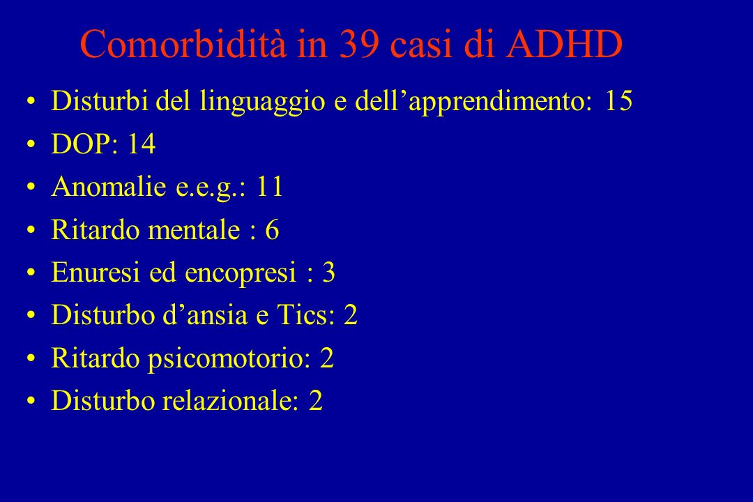 Comorbidità in 39 casi di ADHD