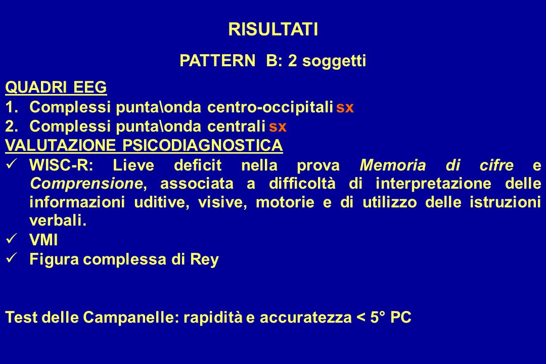 RISULTATI PATTERN B: 2 soggetti QUADRI EEG