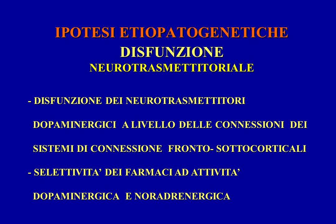 IPOTESI ETIOPATOGENETICHE DISFUNZIONE NEUROTRASMETTITORIALE