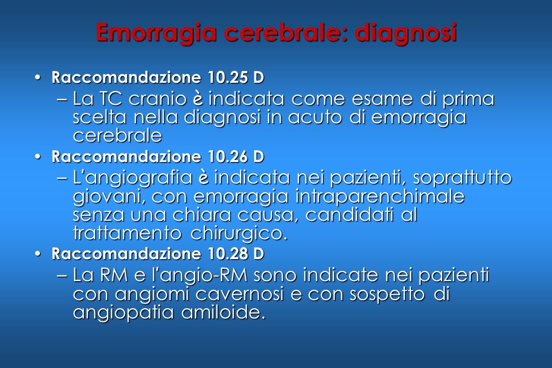 Emorragia cerebrale: diagnosi