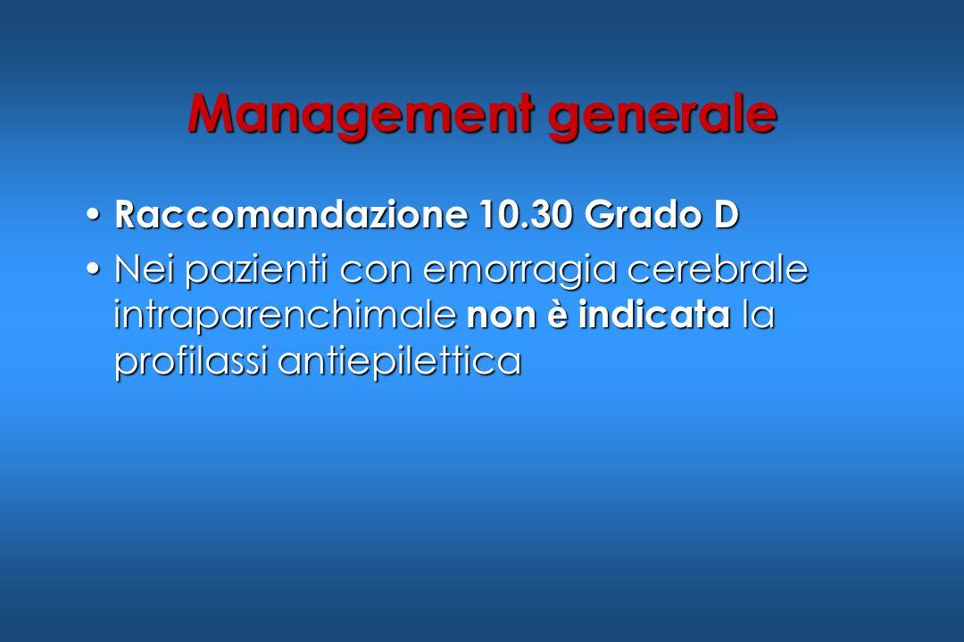 Management generale Raccomandazione 10.30 Grado D