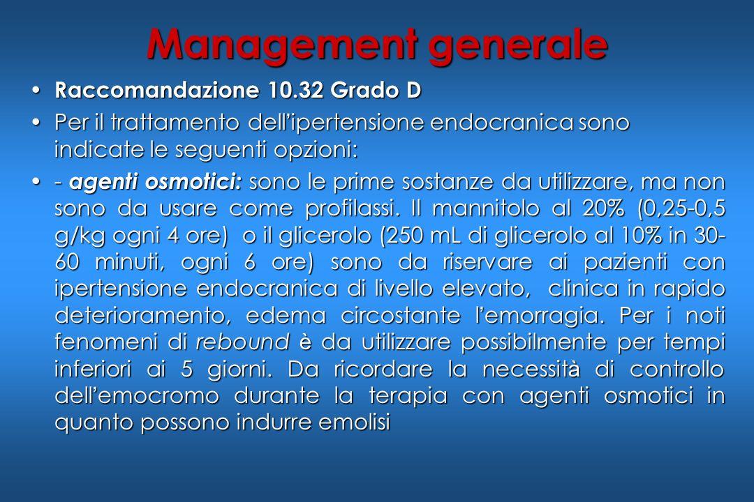 Management generale Raccomandazione 10.32 Grado D