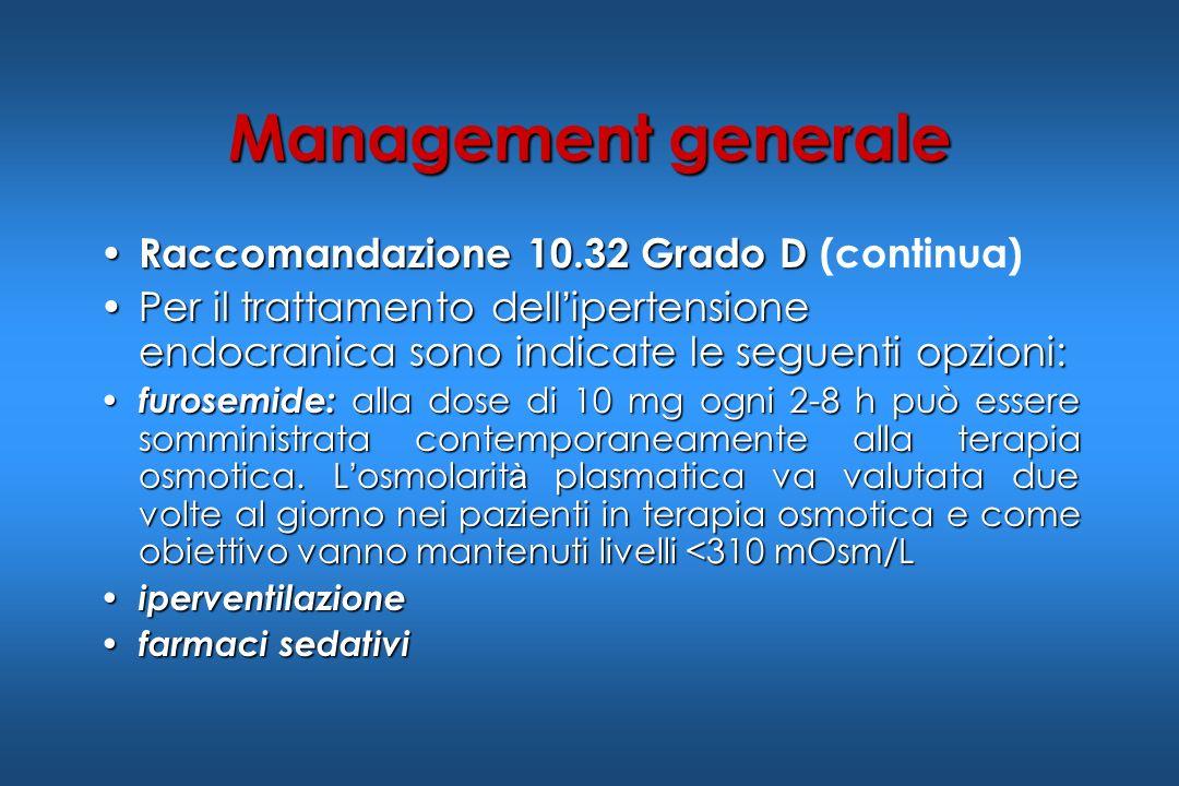 Management generale Raccomandazione 10.32 Grado D (continua)