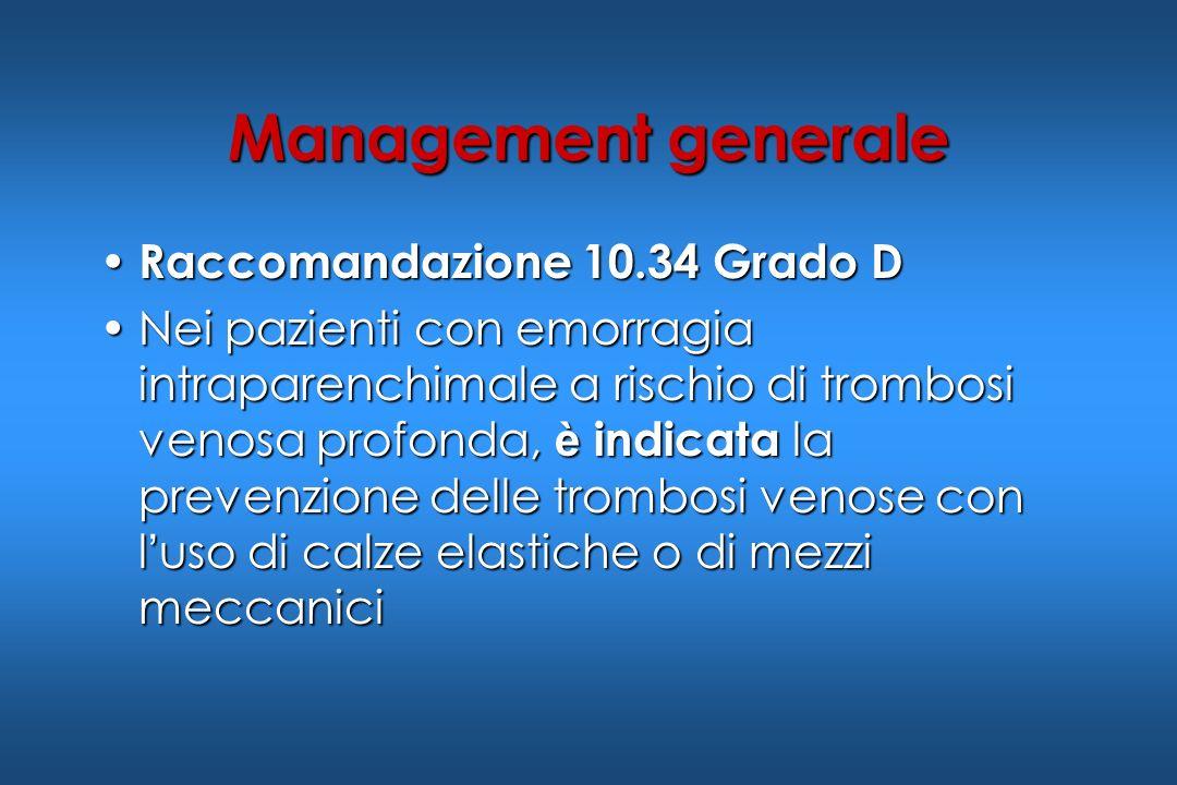 Management generale Raccomandazione 10.34 Grado D