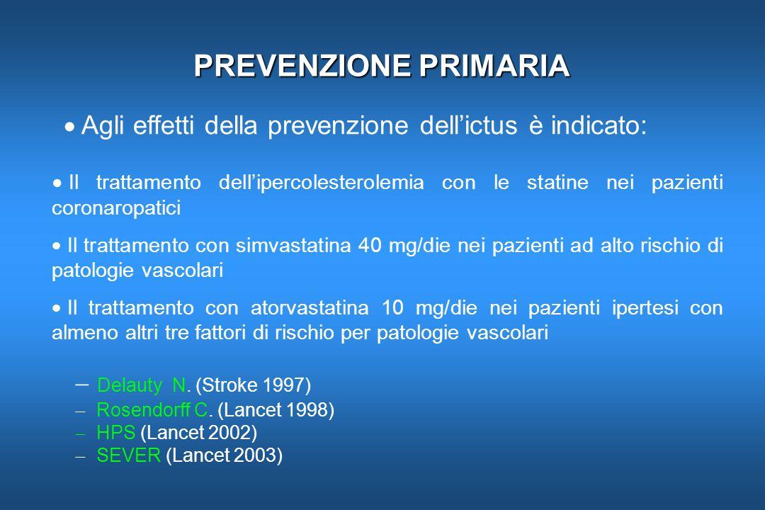 PREVENZIONE PRIMARIA Agli effetti della prevenzione dell'ictus è indicato: