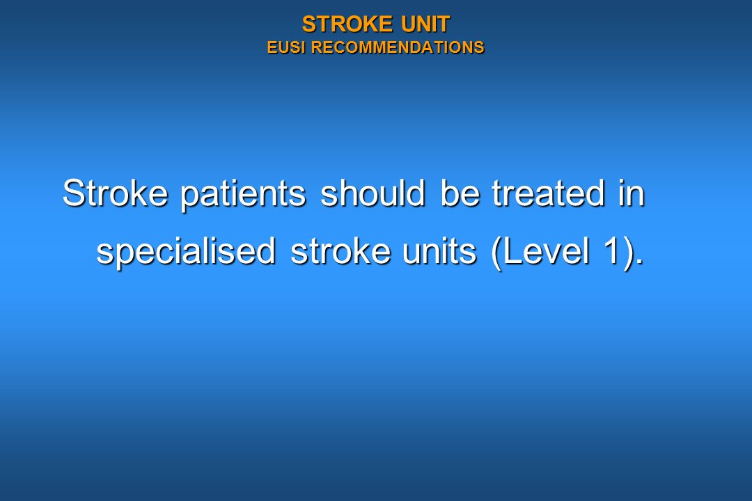 STROKE UNIT EUSI RECOMMENDATIONS