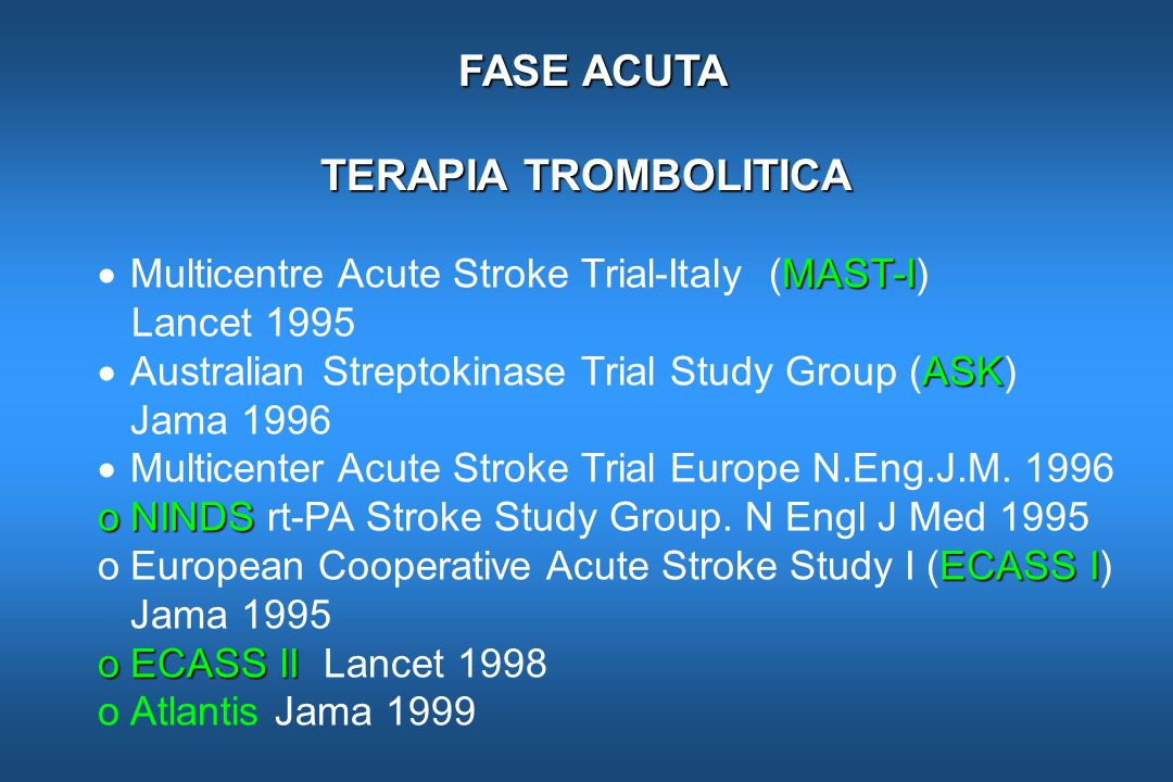 FASE ACUTA TERAPIA TROMBOLITICA