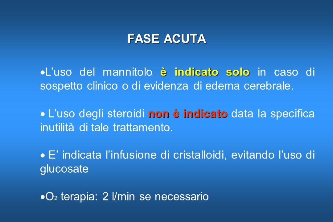 FASE ACUTA L'uso del mannitolo è indicato solo in caso di sospetto clinico o di evidenza di edema cerebrale.