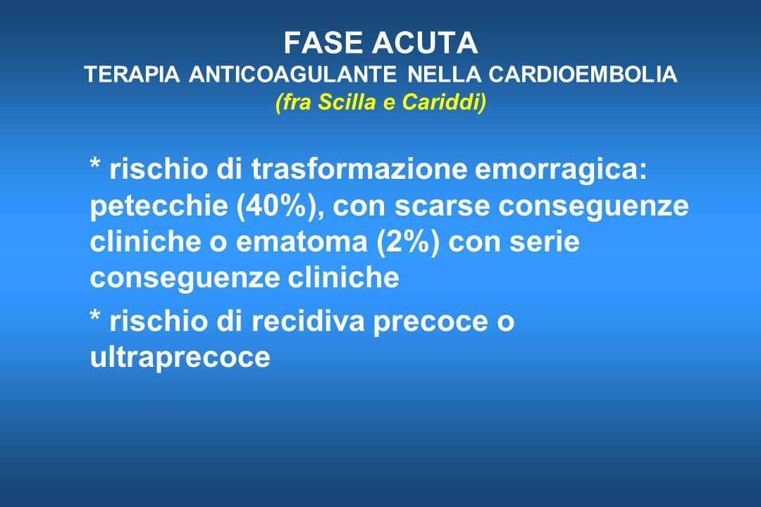 FASE ACUTA TERAPIA ANTICOAGULANTE NELLA CARDIOEMBOLIA (fra Scilla e Cariddi)